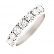 Demi-alliance diamants 0.88 carat en or blanc