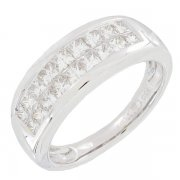 Demi-alliance diamants 1,06 carat en or blanc