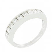 Demi-alliance diamants 0,63 carat en or blanc