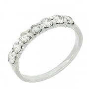Demi-alliance 7 diamants 0,84 carat en or blanc