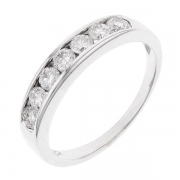 Demi-alliance 7 diamants 0,42 carat en or blanc