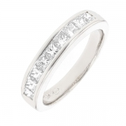 Demi-alliance diamants 0.72 carat en or blanc