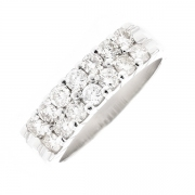 Demi-alliance double rang diamants 1.40 carat en or blanc