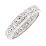 Alliance tour complet diamants 0.10 carat en or blanc