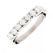 Bague style jarretière diamants 0.49 carat en or blanc