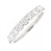 Demi-alliance diamants 0.84 carat en or blanc
