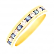 Demi-alliance diamants 0.42 carat et saphirs 0.42 carat en or jaune