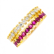Demi-alliance double rangs rubis 0.48 carat et diamants 0.28 carat en or jaune