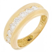 Demi-alliance diamants 0,88 carat en or jaune
