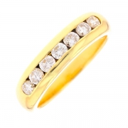 Demi-alliance diamants 0.70 carat en or jaune