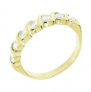 Demi-alliance diamants 0,42 carat en or jaune