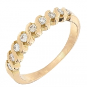 Demi-alliance diamants 0,22 carat en or jaune