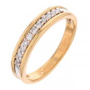 Demi-alliance 11 diamants 0,16 carat en or bicolore