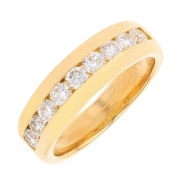 Demi-alliance diamants 0,72 carat en or jaune