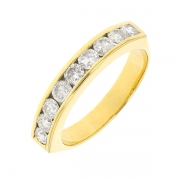 Demi-alliance diamants 0,81 carat en or jaune