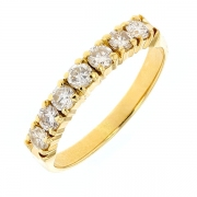 Demi-alliance diamants 0,70 carat en or jaune