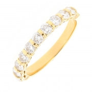 Demi-alliance diamants 0.80 carat en or jaune