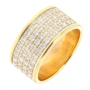 Bague bandeau pavage de diamants 0.64 carat en or jaune