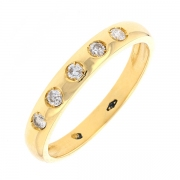 Alliance 5 diamants 0.17 carat en or jaune