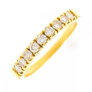 Demi-alliance diamants 0.45 carat en or jaune