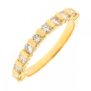 Demi-alliance diamants 0.63 carat en or jaune