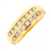 Demi-alliance double rang diamants 0.80 carat en or jaune