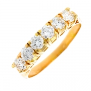 Demi-alliance diamants 0.96 carat en or jaune