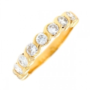 Demi-alliance diamants 0.88 carat en or jaune