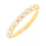 Demi-alliance diamants 0.81 carat en or jaune