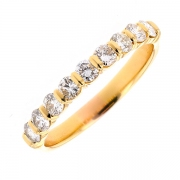 Demi-alliance diamants 0.85 carat en or jaune