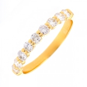 Demi-alliance diamants 0.54 carat en or jaune
