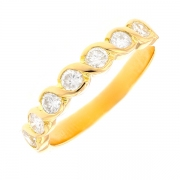 Demi-alliance diamants 0.60 carat en or jaune
