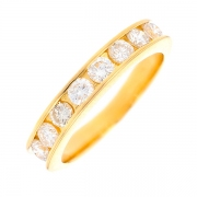 Demi-alliance diamants 1.12 carat en or jaune