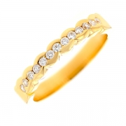 Demi-alliance diamants 0.32 carat en or jaune