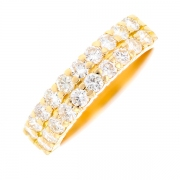 Demi-alliance double rangs diamants 1 carat en or jaune