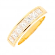 Demi-alliance diamants princesses 1.05 carat en or jaune