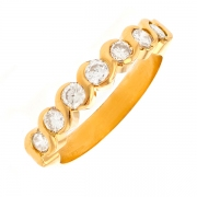 Demi-alliance diamants 0.42 carat en or jaune