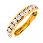Alliance diamants 0.84 carat en or jaune