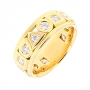 Alliance tour complet signée TOURNAIRE diamants 0.91 carat en or jaune