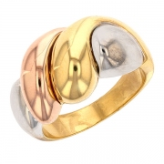 Bague godrons en or rose, or blanc et or jaune