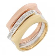 Bague diamants en or jaune, or blanc et or rose