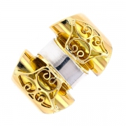 Bague TANK en or bicolore 8.23grs