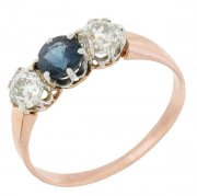 Bague saphir 0,47 carat et diamants 0,63 carat en or rose et blanc