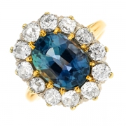 Bague saphir 5.10 carats et diamants 2 carats 2 ors