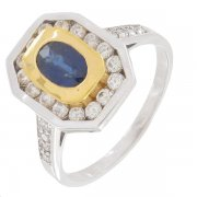 Bague saphir 0,60 carat et diamants 0,42 carat sur or bicolore
