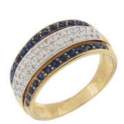 Bague saphirs 0,26 carat et pavage de diamants 0,25 carat en or bicolore