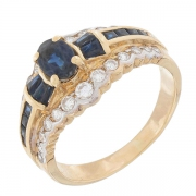 Bague saphirs et diamants en or jaune et or blanc