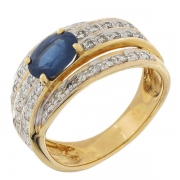 Bague multilignes de diamants 0,39 carat et saphir 0,88 carat en pr bicolore