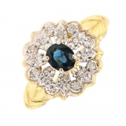 Bague fleur saphir 0.45 carat et diamants en or bicolore