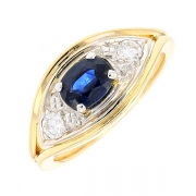 Bague saphir 1 carat et diamants 0.24 carat en or bicolore